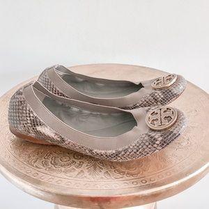 Tory Burch Caroline Snakeskin Leather Flats